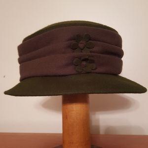 Green hat, 2 flower embellishment